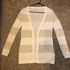 White and Gold Old Navy Cardigan